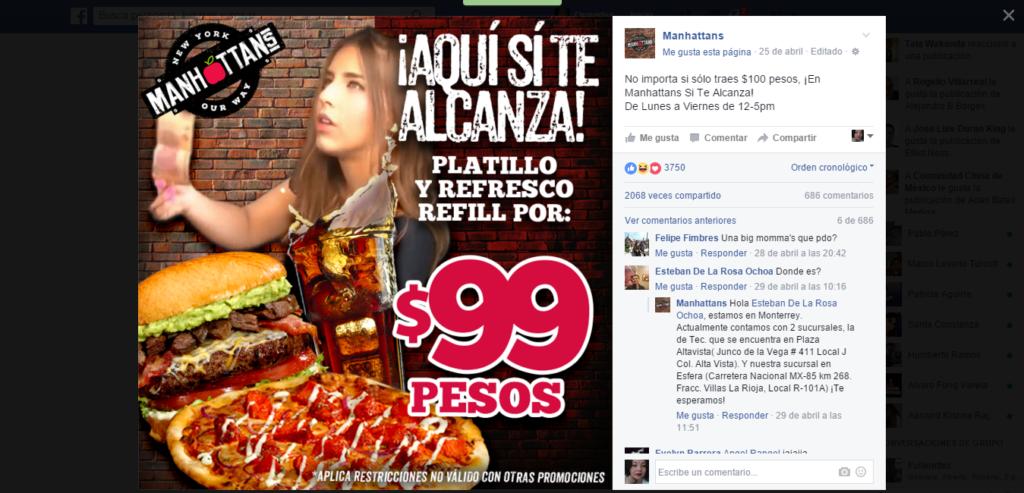promoción lady 100 pesos